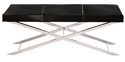 Fashion N You Artisan Leather Bench; Black