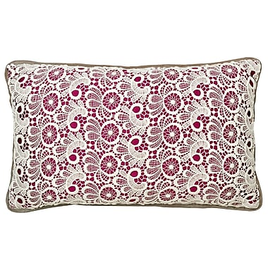 Christy Lace Cotton Lumbar Pillow; Plum
