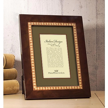Philip Whitney Inner Dimond Marquetry Picture Frame; 5'' x 7''