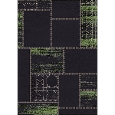 Dynamic Rugs Vintage Black/Green Rug; Rectangle 6'7'' x 9'6''