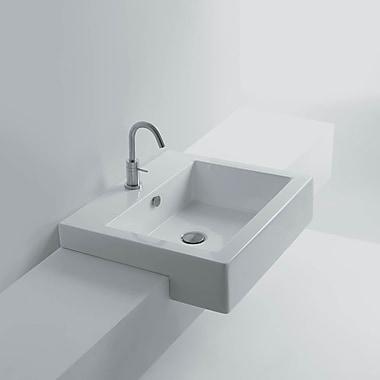 WS Bath Collections Quad Ceramic Rectangular Vessel Bathroom Sink w/ Overflow