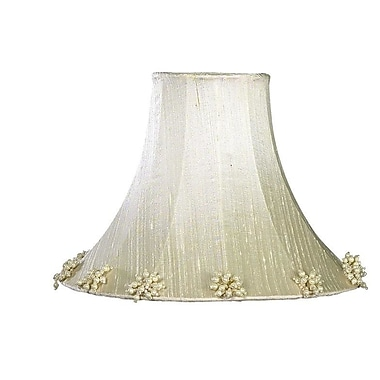 Jubilee Collection Pearl Burst 16'' Silk Bell Lamp Shade; Ivory