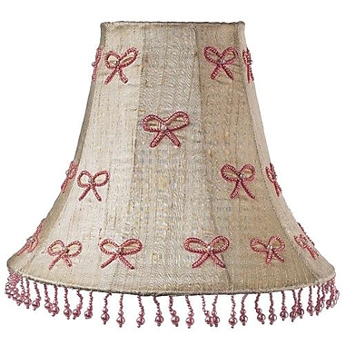 Jubilee Collection Pearl Bow 16'' Silk Bell Lamp Shade