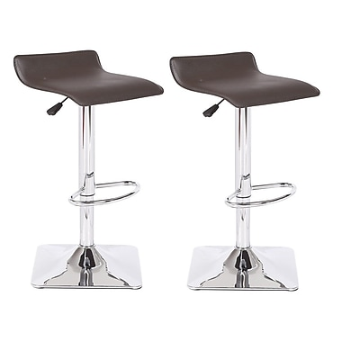 Container Adjustable Height Swivel Bar Stool (Set of 2); Chocolate