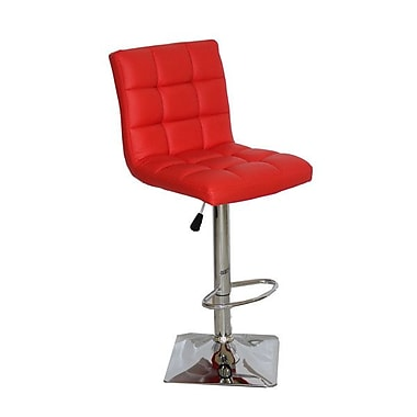 Container Adjustable Height Swivel Bar Stool (Set of 2); Red