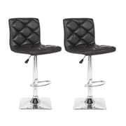 Container Adjustable Height Swivel Bar Stool (Set of 2); Black