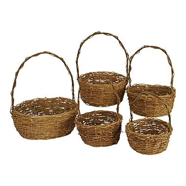 WaldImports 5 Piece Unpeeled Willow Basket Set
