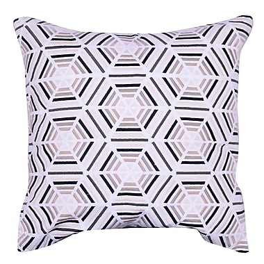 A&B Home Embroidered Cotton Throw Pillow; Beige
