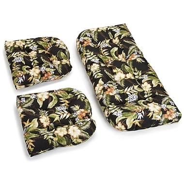 Blazing Needles Floral Outdoor Loveseat Cushion; Black/Green