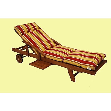 Blazing Needles Haliwall Outdoor Chaise Lounge Cushion; Caribbean