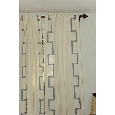 Art Home Asli Geometric Semi-Sheer Rod Pocket Single Curtain Panel; Gray