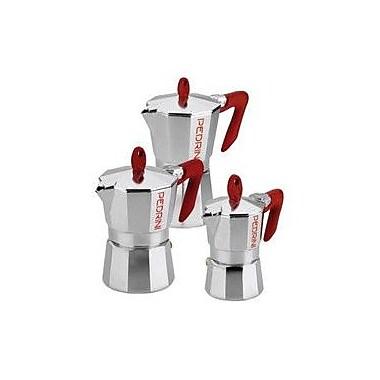 Grosche Pedrini Stovetop Espresso Pot Silver w/ Red Handle; 6 Cup