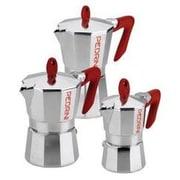 Grosche Pedrini Stovetop Espresso Pot Silver w/ Red Handle; 1 Cup