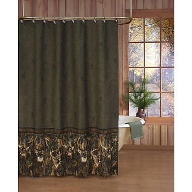 Browning Whitetails Shower Curtain in Green