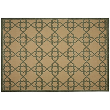 Pawleys Island Antebellum Green Geometric Indoor/Outdoor Area Rug; Rectangle 5' x 7'