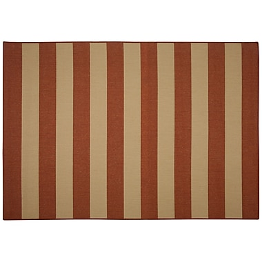 Pawleys Island Beach Service Red Stripe Indoor/Outdoor Area Rug; Rectangle 5' x 7'