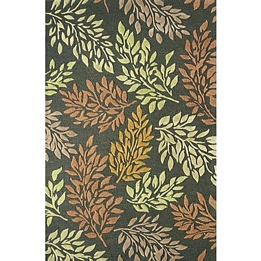 Dynamic Rugs Florence Charcoal Green Rug; 5' x 8'