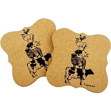 Thirstystone Urban Farm Stacked Animals Shaped Cork Trivet (Set of 2)