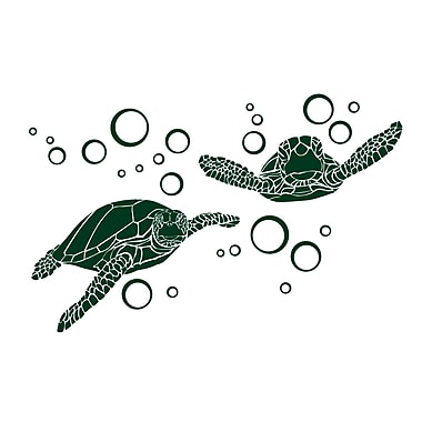 Dana Decals Green Sea Turtle w/ Bubble Small Wall Decal