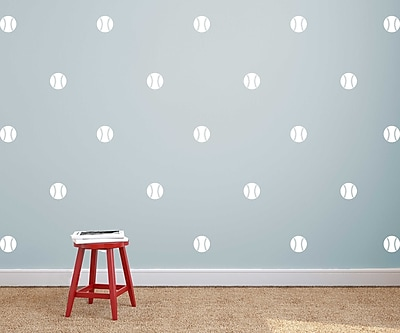 Dana Decals Baseball Pattern Baseballs Wall Decal (Set of 50); Blue / White