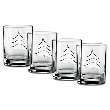 Kraftware Holiday Tree Deep Etched D.O.F. Glass (Set of 4)