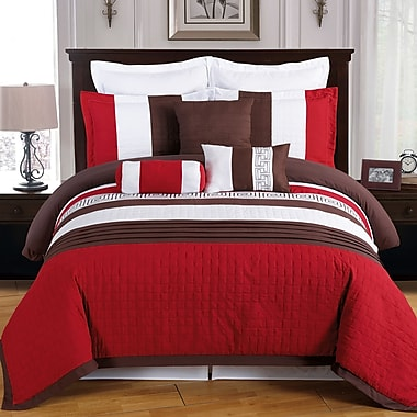 Linen Depot Direct Wrigley 8 Piece Comforter Set; Queen