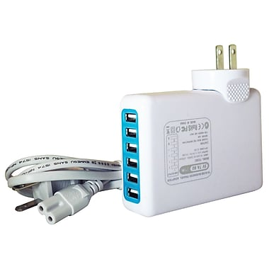 Exian Travel Charger 100-240Vac 50/60Hz 5A/25W 5V with 6 USB Ports, White