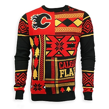 Calgary Flames Men's Patchwork Crew Sweater, X Large