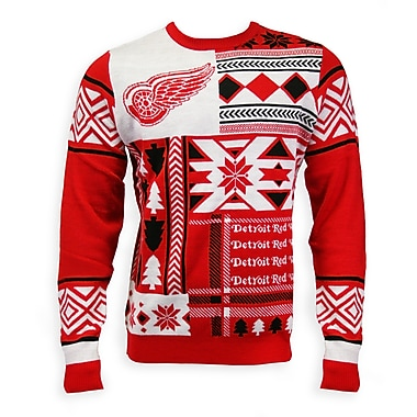 Detroit Red Wings Men's Patchwork Crew Sweater, Medium