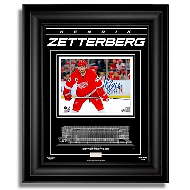 Archival Etched GlassMC – Photo en verre gravé signée par Henrik Zetterberg des Red Wings de Détroit, 8 x 10 po, ltée/99