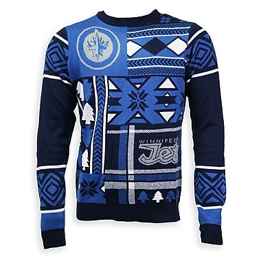 Winnipeg Jets Men's Patchwork Crew Sweater, X Large
