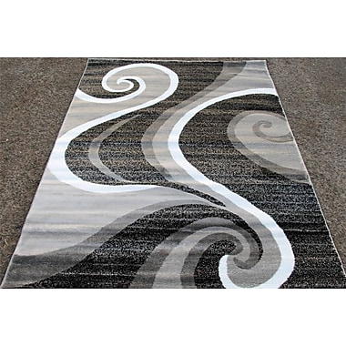 Persian-rugs Abstract Gray Area Rug; 3'9'' x 5'4''