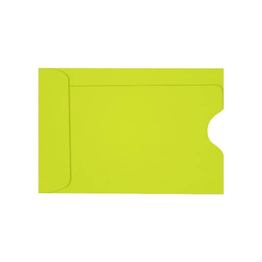 """LUX® Credit Card Sleeve; 2 3/8""""H x 3 1/2""""W, Wasabi Green, 250/Pack"""