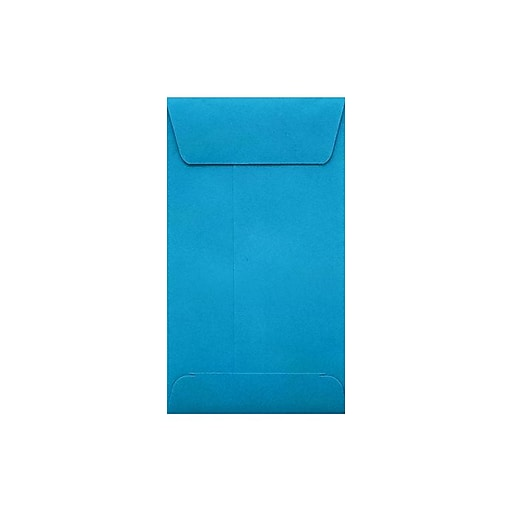 """LUX® #5 1/2 Coin Envelopes; 3 1/8"""" x 5 1/2"""" with Peel and Seel, Pool Blue, 50/PK (512CO-102-50)"""