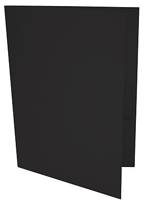 LUX 9 x 12 Presentation Folders, Standard Two Pocket, Black Linen, 50/Pack (PF-BLI-50)