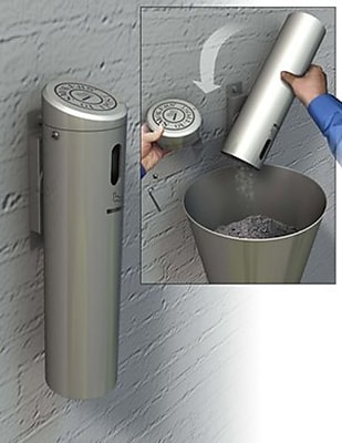 Commercial Zone Products® Swiveling Wall-Mounted Smokers' Outpost®, Silver (712107)
