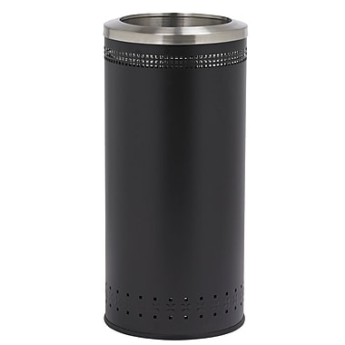 Commercial Zone Products® Precision Series® Imprinted 360 Metal 25-Gallon Waste Receptacle, Black with Open Top (781801)
