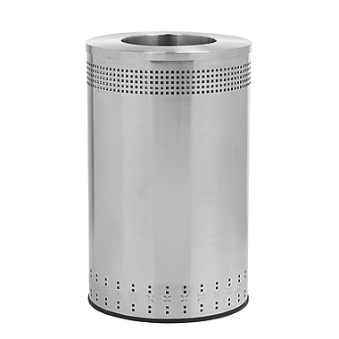 Commercial Zone Products® Precision Series® Imprinted 360 Open-Top 45gal Waste Receptacle, Stainless Steel (782329)