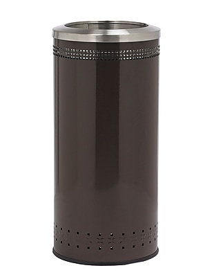 Commercial Zone Products® Precision Series® Imprinted 360 Metal 25-Gallon Waste Receptacle, Brown with Open Top (781838)