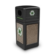 Commercial Zone Products® Green Zone Series Recycle42 StoneTec® Recycling Container, Black with Riverstone (72235299)