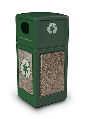 Commercial Zone Products® Green Zone Series Recycle42 StoneTec® Recycling Container, Forest Green with Riverstone (72235499)