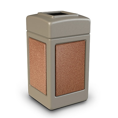 Commercial Zone Products® 42gal Square StoneTec® Trash Receptacle, Beige with Sedona Panels (720316)