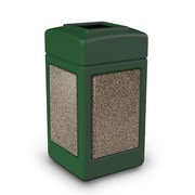 Commercial Zone Products® 42gal Square StoneTec® Trash Receptacle, Forest Green with Riverstone Panels (720354)
