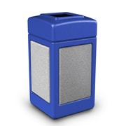 Commercial Zone Products® 42gal Square StoneTec® Trash Receptacle, Blue with Ashtone Panels (720330)
