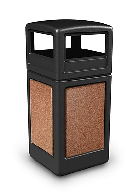 Commercial Zone Products® 42gal Square StoneTec® Trash Receptacle with Dome Lid, Black with Sedona Panels (72041499)