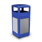 Commercial Zone Products® 42gal Square StoneTec® Trash Receptacle with Dome Lid, Blue with Ashtone Panels (72043099)