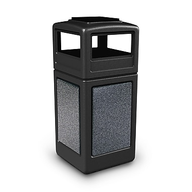 Commercial Zone Products® 42gal Square StoneTec® Trash Receptacle with Ashtray Dome Lid, Black/Pepperstone Panels (72051399)