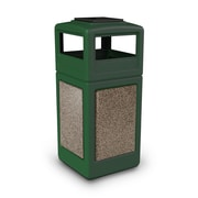 Commercial Zone Products® 42gal Square StoneTec® Trash Receptacle with Ashtray Dome Lid, Forest Green/Riverstone (72055499)