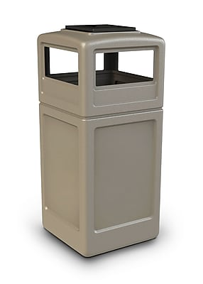 Commercial Zone Products® PolyTec Series 42gal Square Waste Container with Ashtray Dome Lid, Beige (73300299)
