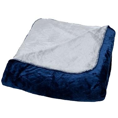 Lavish Home 61-80-FQ-BLG Full/Queen Super Warm Flannel-Like Reversible Blanket, Blue/Gray